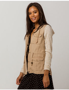Sky And Sparrow French Terry Sleeve Khaki Womens Anorak Jacket by Sky And Sparrow