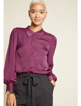 Undeniably Inspired Collared Blouse In Purple by Modcloth