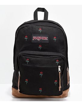 Jan Sport Right Pack Expressions Embroidered Roses Backpack by Jansport