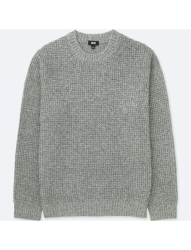 Men Waffle Knit Crewneck Long Sleeve Sweater by Uniqlo