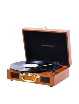 Record Player,3 Speed Vintage Portable Suitcase Turntable With Built In Stereo Speakers,Headphone Jack,Pc Recorder,Rca Line Out, Wooden by Amazon