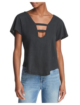 Tara Cutout Neck Tee by Lna