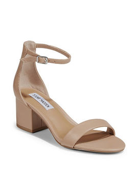 Low Heel Ankle Strap Leather Sandals by Steve Madden