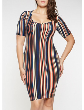 Plus Size Striped Soft Knit Dress by Rainbow