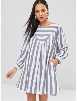 Striped Tunic Mini Dress   Blue Gray L by Zaful