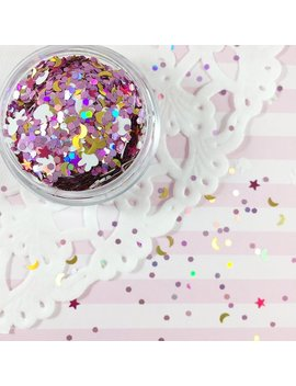 Bunny, Holographic Stars & Crescent Moons Mix Glitter | Sailor Moon Usagi's Bed Sheets Inspired Glitter Mix by Adorella