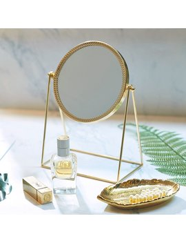 Pu Two Makeup Mirror Metal Gold Round Make Up Mirror Golden Makeup Vanity Mirror Decorative Mirrors Perfect Dressing Table   Champagne Gold by Pu Two