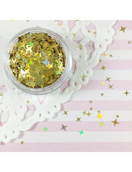 Gold Holographic Sparkle Shape Mix Glitter | Four Pointed Star Shape Glitter | Solvent Resistant Glitter by Adorella