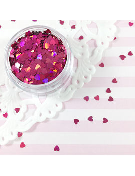 3mm Rose Red Holographic Heart Glitter | Solvent Resistant Glitter by Adorella