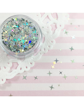Silver Holographic Sparkle Shape Mix Glitter | Four Pointed Star Shape Glitter | Solvent Resistant Glitter For Nail Art & Crafts by Adorella