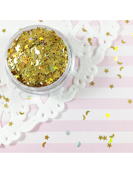 3mm Yellow Gold Holographic Stars & Crescent Moons Mix Glitter | Solvent Resistant Glitter by Adorella