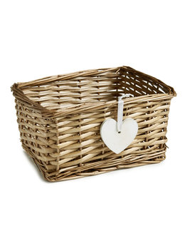 Wilko Wicker Storage Basket With Wooden Heart Detail by Wilko