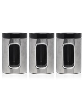 Wilko Stainless Steel Window Storage Canister     3pk by Wilko