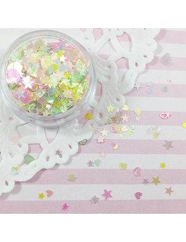 Colorful Shiny Clear Glitter Mix | Star, Heart, Flower & Diamond Shape Glitter by Adorella