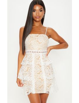 White Lace Tiered Strappy Skater Dress by Prettylittlething