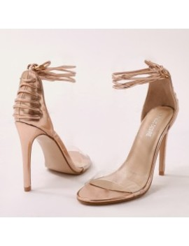 Bare Barely There Lace Up Heels In Rose Gold by Public Desire
