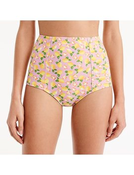 High Waist Bikini Bottom In Lemon Print by J.Crew