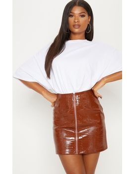 Brown Croc Effect Mini Skirt by Prettylittlething
