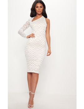 White One Shoulder Lace Midi Dress by Prettylittlething
