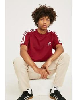 Adidas 3 Stripe Burgundy T Shirt by Adidas