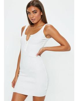 White Popper Front Knitted Mini Dress by Missguided