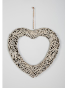 Hanging Wicker Heart (43cm X 39cm) by Matalan
