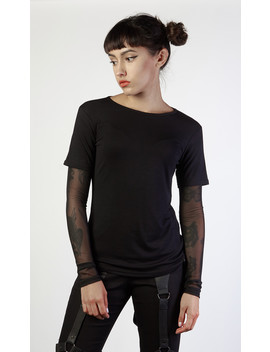 Mesh Sleeve Fitted Tee by Disturbia