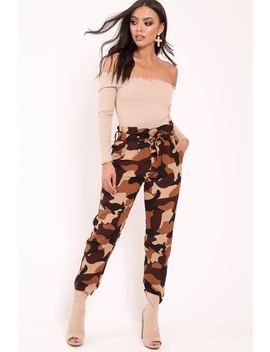 Brown Camo Paper Bag Tie Waist Trousers   Ryana by Rebellious Fashion
