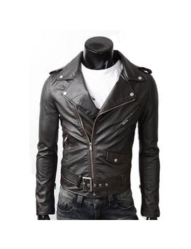 Men's Pu Leather Biker Jacket by Amtify