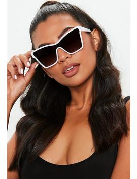 White Frame Visor Sunglasses by Missguided