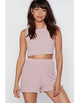 Rib Crop &Amp; Frill Hem Short Lounge Set by Nasty Gal