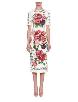 Half Sleeve Rose & Peony Print L'amore E' Bellisima Mid Calf Dress by Dolce & Gabbana
