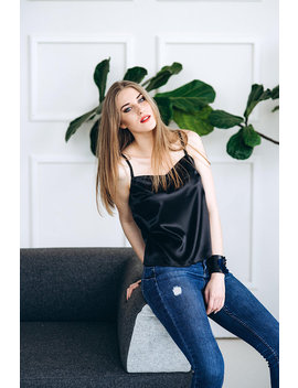 High Quality Silk Top, Classic Women's Top, Classic Women's Blouse, Black Silk Camisole, Black Satin Blouse, Silk Top by Different We