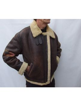 Vintage B3 Aviator Leather Sheepskin Shearling Bomber  Flying Jacket Size L / Xl by Ebay Seller