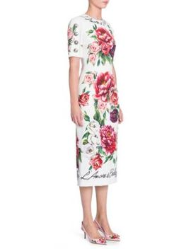 Peonie Print Cady Dress by Dolce & Gabbana