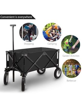 Utility Collapsible Black Wagon For Outdoor Use Heavy Duty Retract For Storage by Unique Home