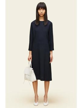Crepe Fitted Three Quarter Sleeve Dress by Mansur Gavriel