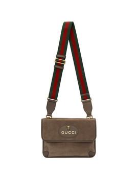 Beige Suede Neo Vintage Foldover Messenger Bag by Gucci