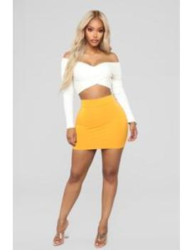 Melanie Mini Skirt   Mustard by Fashion Nova