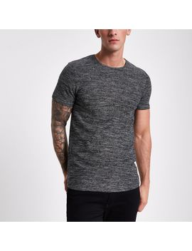 Jack & Jones Dark Grey Textured T Shirt by River Island