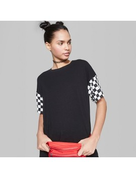 Women's Checkerboard Print Sleeve Short Sleeve T Shirt   Wild Fable™ Black by Shop All Wild Fable™