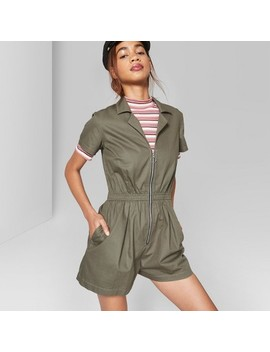 Women's Short Sleeve Zip Front Woven Romper   Wild Fable™ Olive by Shop All Wild Fable™