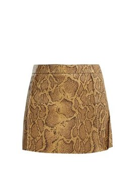 Python Print Leather Mini Skirt by Chloé
