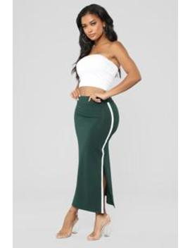 Alessia Side Slit Skirt   Green by Fashion Nova