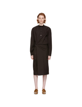 Brown High Collar Twisted Dress by Lemaire