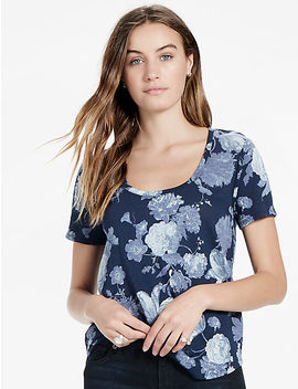 Floral Print Scoop Neck Tee by Lucky Brand