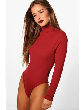 Petite Turtle Neck Knitted Bodysuit by Boohoo