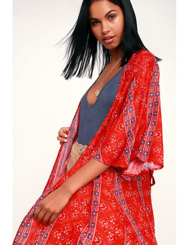 Savasana Red Multi Print Midi Kimono Top by Lulu's