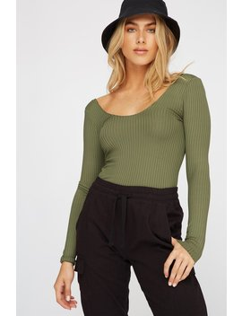 Ribbed Scoop Neck Open Back Long Sleeve Bodysuit by Urban Planet