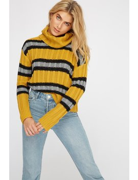 Ribbed Knit Cowl Neck Striped Sweater by Urban Planet